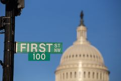 First One Hundred Sign at Capitol Royalty Free Stock Photography