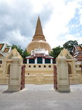First pagoda temple. The first pagoda in temple, nakornpatom thailand Stock Photography