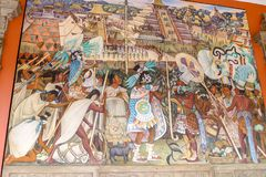 Diego Ribera paintings inside National Palace stock photo