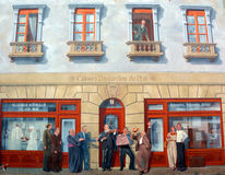 First part of the XX century. SHERBROOKE CANADA 08 29 2015: First part of the XX century Story of Sherbrooke Fresco Murals first of its kind in Canada is a Stock Photos