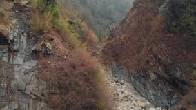 First-person flight in a deep canyon above a mountain river stock video footage