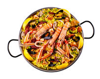 First person perspective of rice and shrimp in pan Royalty Free Stock Photos