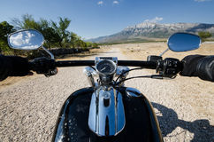 First person photo of countryside motorcycle adventure. In Croatia Stock Image