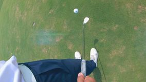 First-person view of a ball getting juggled with the golf club. 4K stock video