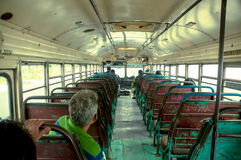 First person view, central american chicken bus, Stock Images
