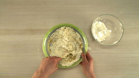 First-person view of chef kneads dough stock video footage