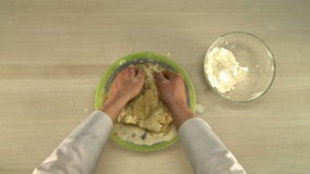 First-person view of chef kneads dough stock video