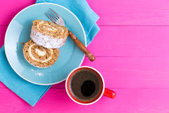 First person view of dessert and coffee Royalty Free Stock Photo