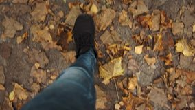 First person view on man legs going on ground with leaves in fall season. Slow motion stock footage