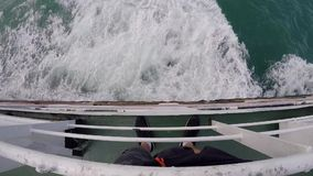 First person view from ship down the sea waves. Boat makes the water into beautiful foam wakes. GoPro, HD. Thailand stock footage