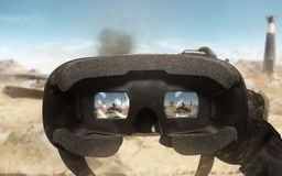 First person view soldier arm using vr glasses.