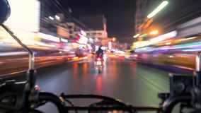 First Person View Timelapse: Motorbike Ride at Night Streets of Patong in Traffic near Bangla Road. Phuket, Thailand. 4K. First Person View: Motorbike Ride at stock video