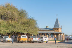 First pharmacy building in Keetmanshoop, built 1909. KEETMANSHOOP, NAMIBIA - JUNE 13, 2017: The first pharmacy building, built 1909, in Keetmanshoop, the capital Royalty Free Stock Images