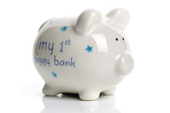 First piggy bank baby gift Stock Images
