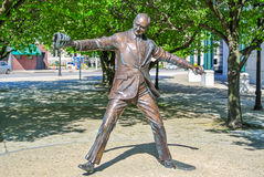 The First Pitch Jimmy Griffin Statue. Statue of Jimmy D. Griffin, Mayor of Buffalo, located in Buffalo, New York Royalty Free Stock Photo