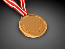 First place. Golden champion  medal over black background Royalty Free Stock Image