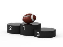 First place. American football. Isolated black podium and american fotball ball Royalty Free Stock Photography