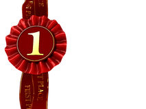 First place award. Abstract 3d illustration of first place award ribbon with copy space Royalty Free Stock Photography