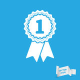 First place award badge with ribbons icon Stock Image