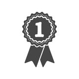 First place award badge with ribbons icon. Illustration Stock Photo