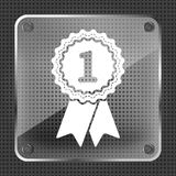 First place award badge with ribbons icon - illustration. First place award badge with ribbons icon - vector illustration Royalty Free Stock Image