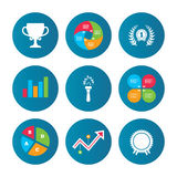 First place award cup icons. Prize for winner. Business pie chart. Growth curve. Presentation buttons. First place award cup icons. Laurel wreath sign. Torch Stock Image