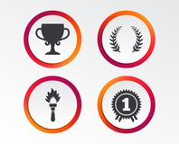 First place award cup icons. Prize for winner. First place award cup icons. Laurel wreath sign. Torch fire flame symbol. Prize for winner. Infographic design Royalty Free Stock Images