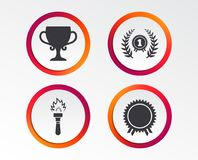 First place award cup icons. Prize for winner. First place award cup icons. Laurel wreath sign. Torch fire flame symbol. Prize for winner. Infographic design Royalty Free Stock Photos