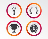 First place award cup icons. Prize for winner. First place award cup icons. Laurel wreath sign. Torch fire flame symbol. Prize for winner. Infographic design Stock Photos