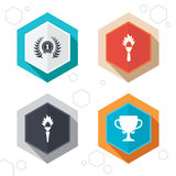 First place award cup icons. Prize for winner. Hexagon buttons. First place award cup icons. Laurel wreath sign. Torch fire flame symbol. Prize for winner Royalty Free Stock Images