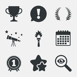 First place award cup icons. Prize for winner. First place award cup icons. Laurel wreath sign. Torch fire flame symbol. Prize for winner. Attention Royalty Free Stock Photography