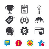 First place award cup icons. Prize for winner. First place award cup icons. Laurel wreath sign. Torch fire flame symbol. Prize for winner. Browser window Royalty Free Stock Image
