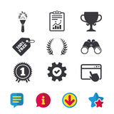 First place award cup icons. Prize for winner. First place award cup icons. Laurel wreath sign. Torch fire flame symbol. Prize for winner. Browser window Stock Photo