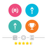First place award cup icons. Prize for winner. First place award cup icons. Laurel wreath sign. Torch fire flame symbol. Prize for winner. Calendar, cogwheel Royalty Free Stock Images