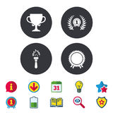 First place award cup icons. Prize for winner. First place award cup icons. Laurel wreath sign. Torch fire flame symbol. Prize for winner. Calendar, Information Royalty Free Stock Images