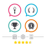 First place award cup icons. Prize for winner. First place award cup icons. Laurel wreath sign. Torch fire flame symbol. Prize for winner. Calendar, internet Royalty Free Stock Image