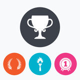 First place award cup icons. Prize for winner. First place award cup icons. Laurel wreath sign. Torch fire flame symbol. Prize for winner. Circle flat buttons Stock Images