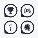 First place award cup icons. Prize for winner. First place award cup icons. Laurel wreath sign. Torch fire flame symbol. Prize for winner. Flat icon pointers Royalty Free Stock Images