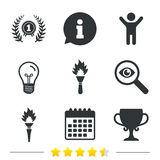 First place award cup icons. Prize for winner. First place award cup icons. Laurel wreath sign. Torch fire flame symbol. Prize for winner. Information, light Stock Photos