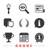 First place award cup icons. Prize for winner. First place award cup icons. Laurel wreath sign. Torch fire flame symbol. Prize for winner. Newspaper Royalty Free Stock Photos