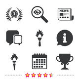 First place award cup icons. Prize for winner. First place award cup icons. Laurel wreath sign. Torch fire flame symbol. Prize for winner. Newspaper Stock Photo