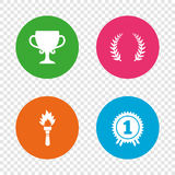 First place award cup icons. Prize for winner. First place award cup icons. Laurel wreath sign. Torch fire flame symbol. Prize for winner. Round buttons on Stock Image