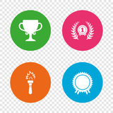 First place award cup icons. Prize for winner. First place award cup icons. Laurel wreath sign. Torch fire flame symbol. Prize for winner. Round buttons on Royalty Free Stock Photo