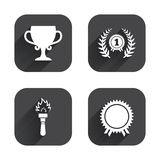 First place award cup icons. Prize for winner. First place award cup icons. Laurel wreath sign. Torch fire flame symbol. Prize for winner. Square flat buttons Royalty Free Stock Image