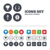 First place award cup icons. Prize for winner. First place award cup icons. Laurel wreath sign. Torch fire flame symbol. Prize for winner. Web buttons set Royalty Free Stock Photo