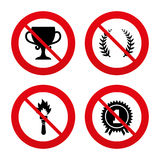First place award cup icons. Prize for winner. No, Ban or Stop signs. First place award cup icons. Laurel wreath sign. Torch fire flame symbol. Prize for winner Stock Photos