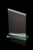 First place award glass trophy. On black reflective background Royalty Free Stock Photos