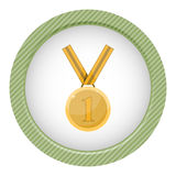 First place award. Gold medal. In cartoon style Royalty Free Stock Photography