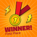 First place award gold medal with red ribbon on yellow background,  icon with lightning. First place award gold medal with red ribbon on yellow background.  icon Royalty Free Stock Photo