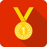 First place award. Gold medal, vector illustration Stock Photo
